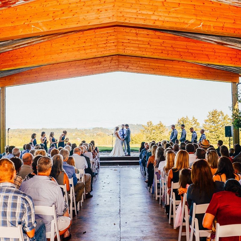 Outdoor wedding venue with sound system included
